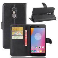 Graines PU kožené pouzdro na mobil Lenovo K6 Note - černé