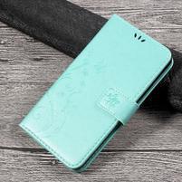 Butterfly PU kožené peněženkové pouzdro na Lenovo K6 Note - cyan
