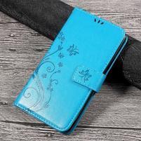 Butterfly PU kožené peněženkové pouzdro na Lenovo K6 Note - modré