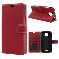 Texture PU kožené pouzdro na mobil Lenovo Moto C - červené