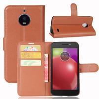 Grain PU kožené pouzdro na mobil Lenovo Moto E4 - hnědé