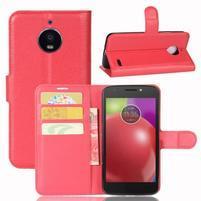 Grain PU kožené pouzdro na mobil Lenovo Moto E4 - červené