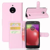 Grain PU kožené pouzdro na mobil Lenovo Moto E4 - růžové