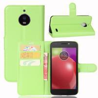 Grain PU kožené pouzdro na mobil Lenovo Moto E4 - zelené