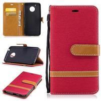 Jeansy PU kožené/ textilní pouzdro na Lenovo Moto G5 - červené