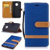 Jeansy PU kožené/ textilní pouzdro na Lenovo Moto G5 - modré