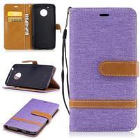 Jeansy PU kožené/ textilní pouzdro na Lenovo Moto G5 - fialové