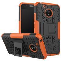 Outdoor odolný obal se stojánkem na Lenovo Moto G5 - oranžový