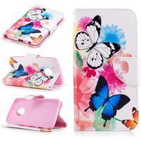 Emotive peněženkové pouzdo na mobil Lenovo Moto G5 Plus - květinoví motýlci