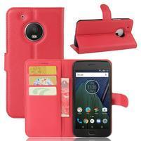 Cross PU kožené pouzdro na mobil Lenovo Moto G5 Plus - červené