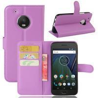 Cross PU kožené pouzdro na mobil Lenovo Moto G5 Plus - fialové