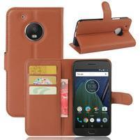 Cross PU kožené pouzdro na mobil Lenovo Moto G5 Plus - hnědé