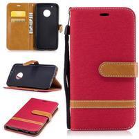 Jeansy PU kožené/ textilní pouzdro na Lenovo Moto G5 Plus - červené