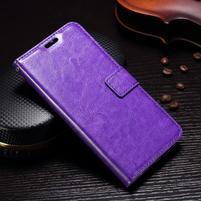 Wallet PU kožené knížkové pouzdro na Lenovo Moto G5s - fialové