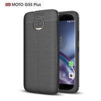 Litchi odolný gelový obal s texturovanými zády na Lenovo Moto G5s Plus - černý