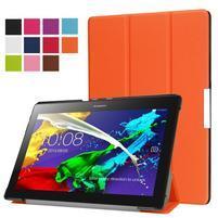 Trifold polohovatelné zapínací pouzdro na Lenovo Tab 3 10 Plus - oranžové