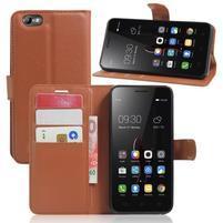 Grain peněženkové pouzdro na mobil Lenovo Vibe C A2020 - hnědé
