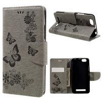Butterfly knížkové pouzdro na mobil Lenovo Vibe C A2020 - šedé