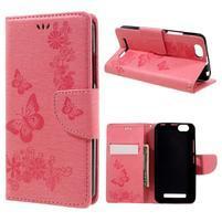 Butterfly knížkové pouzdro na mobil Lenovo Vibe C A2020 - růžové