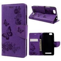 Butterfly knížkové pouzdro na mobil Lenovo Vibe C A2020 - fialové
