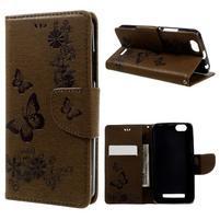 Butterfly knížkové pouzdro na mobil Lenovo Vibe C A2020 - hnědé