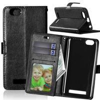 Fashion PU kožené pouzdro na mobil Lenovo Vibe C A2020 - černé