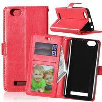 Fashion PU kožené pouzdro na mobil Lenovo Vibe C A2020 - červené