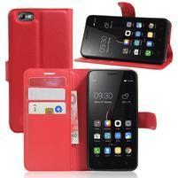 Grain peněženkové pouzdro na mobil Lenovo Vibe C A2020 - červené