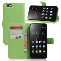 Grain peněženkové pouzdro na mobil Lenovo Vibe C A2020 - zelené