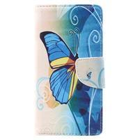 Emotive zapínací peněženkové pouzdro na Lenovo C2 - modrý motýl