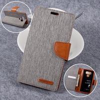 Canvas PU kožené/textilní pouzdro na LG G6 - šedé