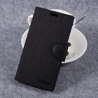 Canvas PU kožené/textilní pouzdro na LG G6 - černé