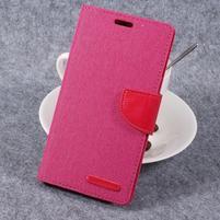Canvas PU kožené/textilní pouzdro na LG G6 - rose