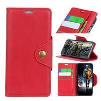 Wallet PU kožené peněženkové pouzdro pro LG G7 ThinQ -  červené