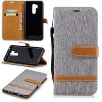 Jeans PU kožené/textilní flipové pouzdro na mobil LG G7 ThinQ -  šedé