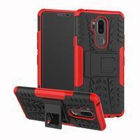 Outdoor odolný hybridný kryt na LG G7 ThinQ -  červený