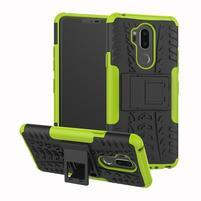 Outdoor odolný hybridný kryt na LG G7 ThinQ -  zelený