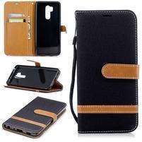 Jeans PU kožené/textilní flipové pouzdro na mobil LG G7 ThinQ -  černé