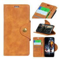 Wallet PU kožené peněženkové pouzdro pro LG Q7 - hnědé