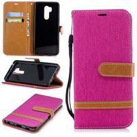 Jeans PU kožené/textilní flipové pouzdro na mobil LG G7 ThinQ -  růžové