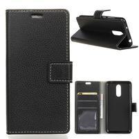 Litchi PU kožené peněženkové pouzdro pro LG Q7 - černé