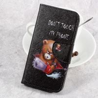 Emotive knížkové pouzdro na LG K8 (2017) - vzteklý méďa