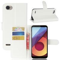 Grain PU kožené peněženkové pouzdro na LG Q6 - bílé