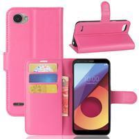 Grain PU kožené peněženkové pouzdro na LG Q6 - rose