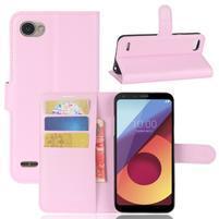 Grain PU kožené peněženkové pouzdro na LG Q6 - růžové