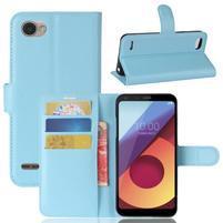 Grain PU kožené peněženkové pouzdro na LG Q6 - modré