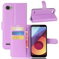 Grain PU kožené peněženkové pouzdro na LG Q6 - fialové