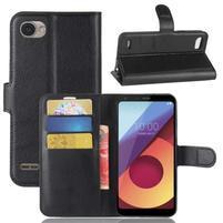 Grain PU kožené peněženkové pouzdro na LG Q6 - černé