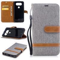 Jean textilní/PU kožené pouzdro na LG Q8 - šedé