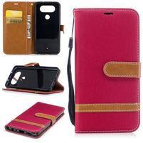 Jean textilní/PU kožené pouzdro na LG Q8 - červené